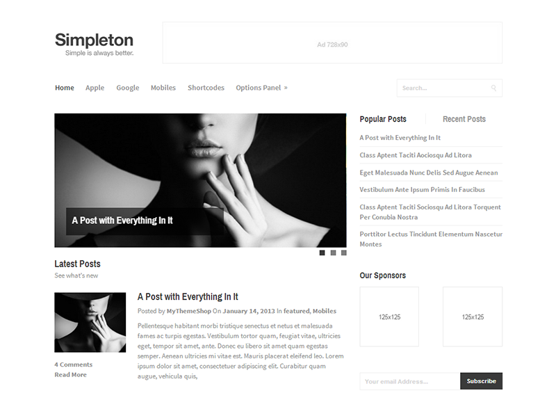 Simpleton - Clean & Minimal WordPress Theme @ MyThemeShop