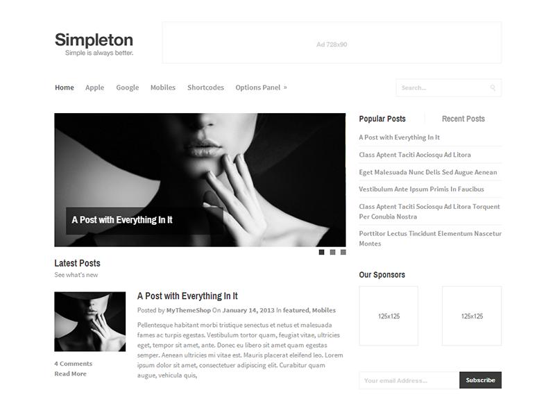 Simpleton - Clean & Minimal WordPress Theme @ MyThemeShop