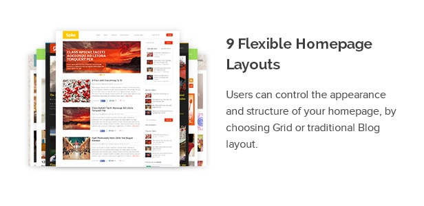 Users can control the appearance and structure of your homepage, by choosing Grid or traditional Blog layout.