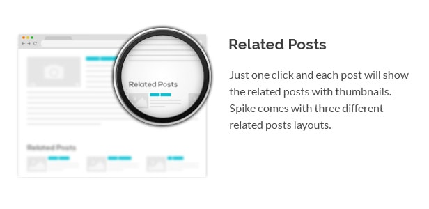 Just one click and each post will show the related posts with thumbnails. Spike comes with three different related posts layouts.