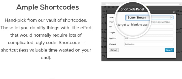 Ample Shortcodes - Hand-pick from our vault of shortcodes. These let you do nifty things with little effort that would normally require lots of complicated, ugly code. Shortcode = shortcut (less valuable time wasted on your end)