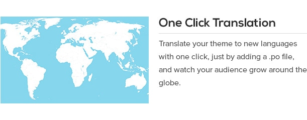 Translate your theme to new languages with one click, just by adding a .po file, and watch your audience grow around the globe.