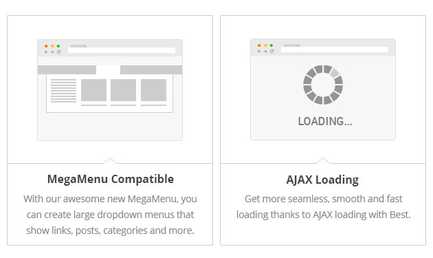 MegaMenu - With our awesome new MegaMenu, you can create large dropdown menus that show links, posts, categories and more. AJAX Load Get more - seamless, smooth and fast loading thanks to AJAX loading with Best.