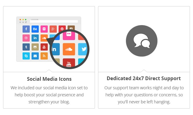 Social Media Icons - We included our social media icon set to help boost your social presence and strengthen your blog. Dedicated 24/7 Support - Our support team works night and day to help with your questions or concerns, so you'll never be left hanging.