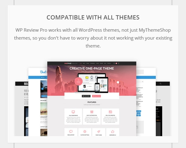 Compatible with All Themes - WP Review Pro works with all WordPress themes, not just MyThemeShop themes, so you don't have to worry about it not working with your existing theme.