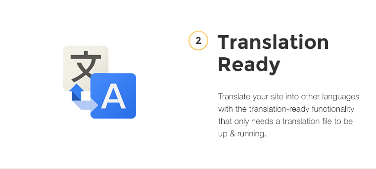 Translate your site into other languages with the translation-ready functionality that only needs a translation file to be up and running.