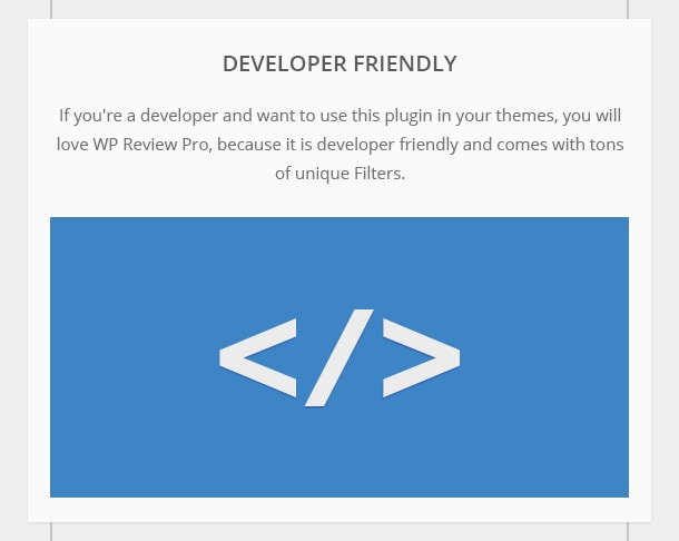Developer Friendly - If you're a developer and want to do special customizations, you'll love WP Review Pro, because it's developer friendly and the code is easy to understand.