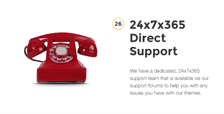 Direct Support We have a dedicated, 24x7 support team that is available via our support forums to help you with any issues you have with our themes.
