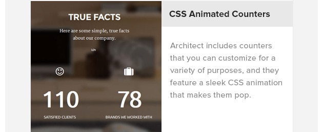CSS Animated Counters. Architect includes counters that you can customize for a variety of purposes, and they feature a sleek CSS animation that makes them pop.