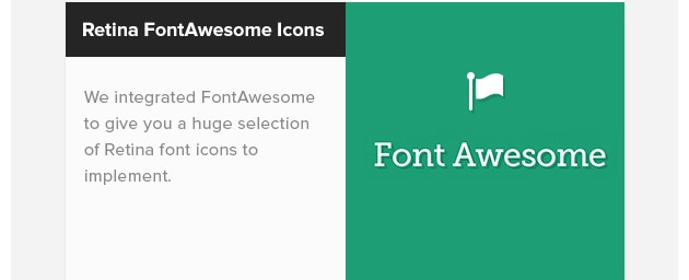 Retina FontAwesome Icons. We integrated FontAwesome to give you a huge selection of Retina font icons to implement.