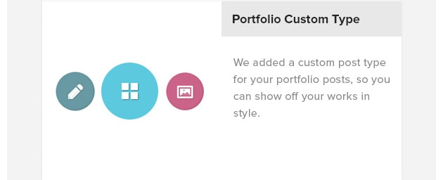 Portfolio Custom Type. We added a custom post type for your portfolio posts, so you can show off your works in style.