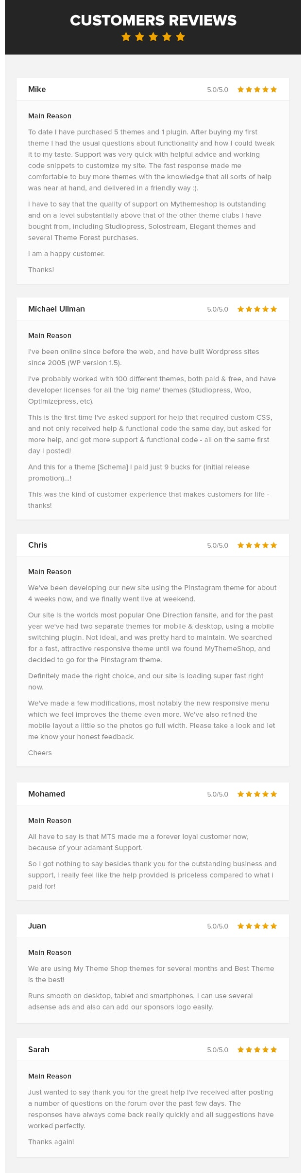 Architect WordPress Theme Testimonials