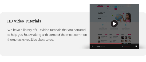 We have a library of HD video tutorials that are narrated, to help you follow along with some of the most common theme tasks you'll be likely to do.
