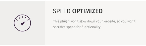 This plugin won't slow down your website, so you won't sacrifice speed for functionality.