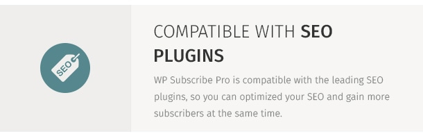 WP Subscribe Pro is compatible with the leading SEO plugins, so you can optimized your SEO and gain more subscribers at the same time.