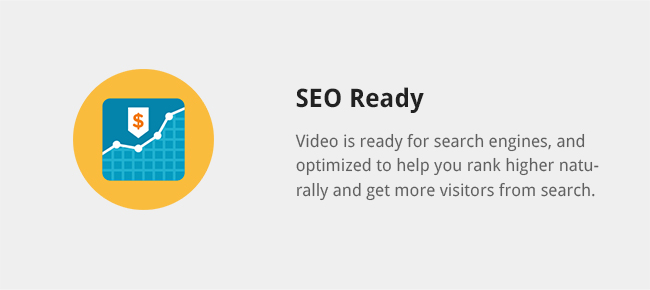 Video is ready for search engines, and optimized to help you rank higher naturally and get more visitors from search.