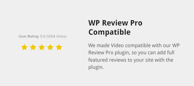 We made Video compatible with our WP Review Pro plugin, so you can add full featured reviews to your site with the plugin.