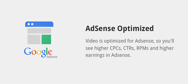 Video is optimized for Adsense, so you'll see higher CPCs, CTRs, RPMs and higher earnings in Adsense.