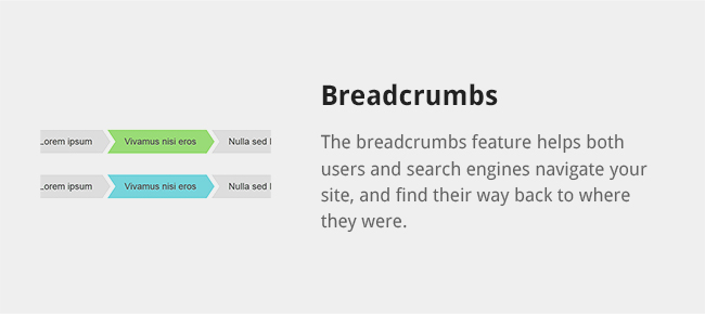 The breadcrumbs feature helps both users and search engines navigate your site, and find their way back to where they were.