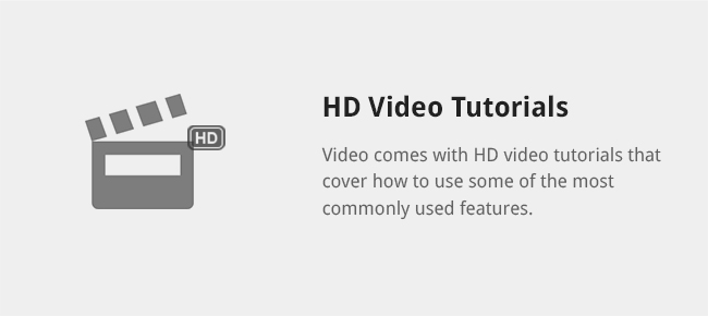 Video comes with HD video tutorials that cover how to use some of the most commonly used features.