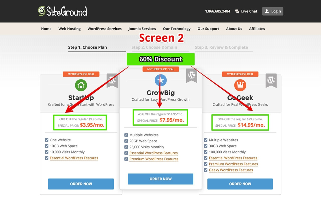 SiteGround 60% OFF Step 2