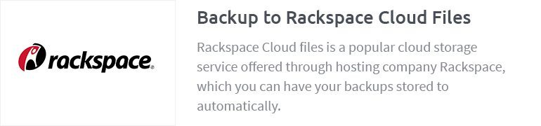 Backup to Rackspace Cloud Files