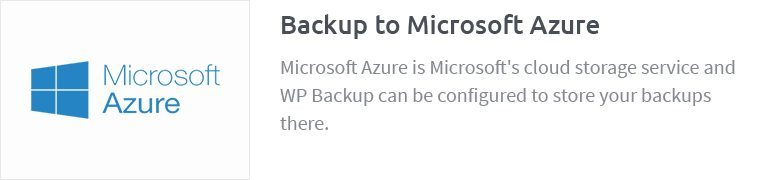 Backup to Microsoft Azure