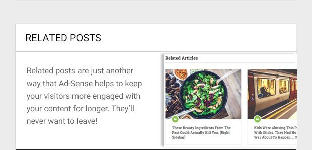 Related posts are just another way that Ad-Sense helps to keep your visitors more engaged with your content for longer. They'll never want to leave!