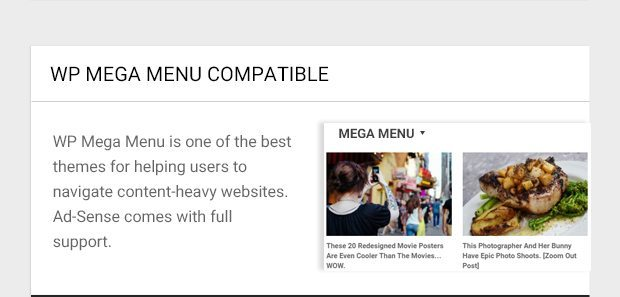 WP Mega Menu is one of the best themes for helping users to navigate content-heavy websites. Ad-Sense comes with full support.