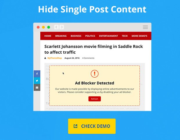 Hide Single Post Content if Adblocker is Detected