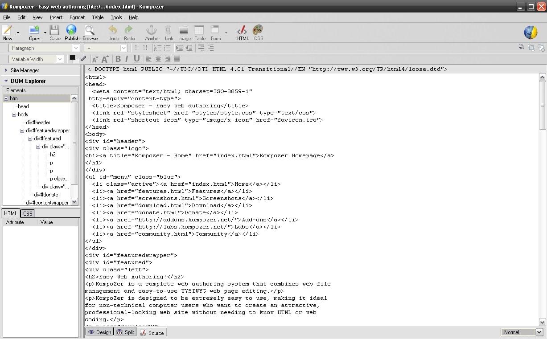 Kompozer Code Editor