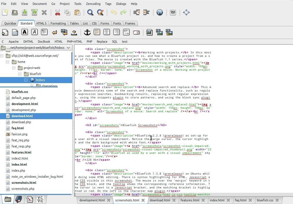 bluefish code editor