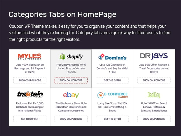 Categories Tabs on HomePage