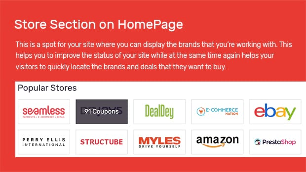 Store Section on HomePage