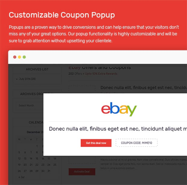 Customizable Coupon Popup