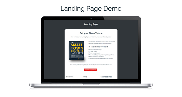 Clean Theme Landing Page Demo