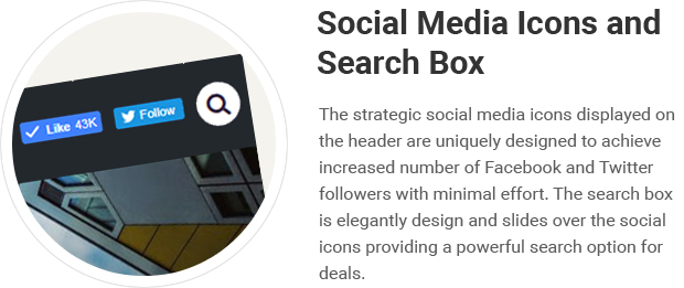 Social Media Icons and Search Box