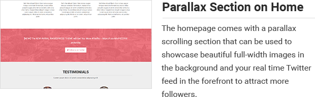 Parallax Section on Home