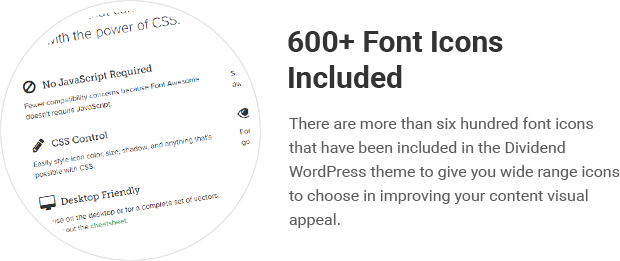 600+ Font Icons Included