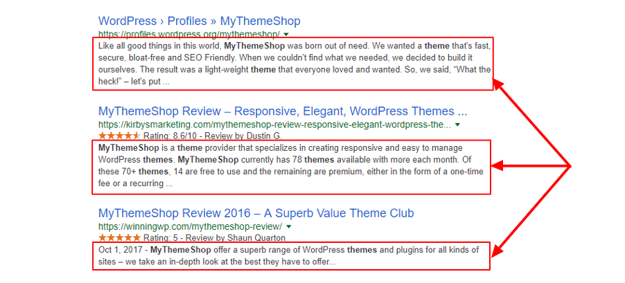 meta descriptions appear in search engine result pages